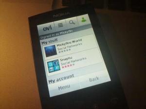 Die Symbian Ovi Store Applikation